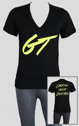 T-Shirt GymTherapy, V-Ausschnitt, schwarz