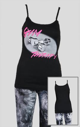 Damen Top GymTherapy, schwarz / pink
