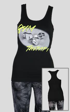 Damen Tanktop GymTherapy, schwarz / gelb